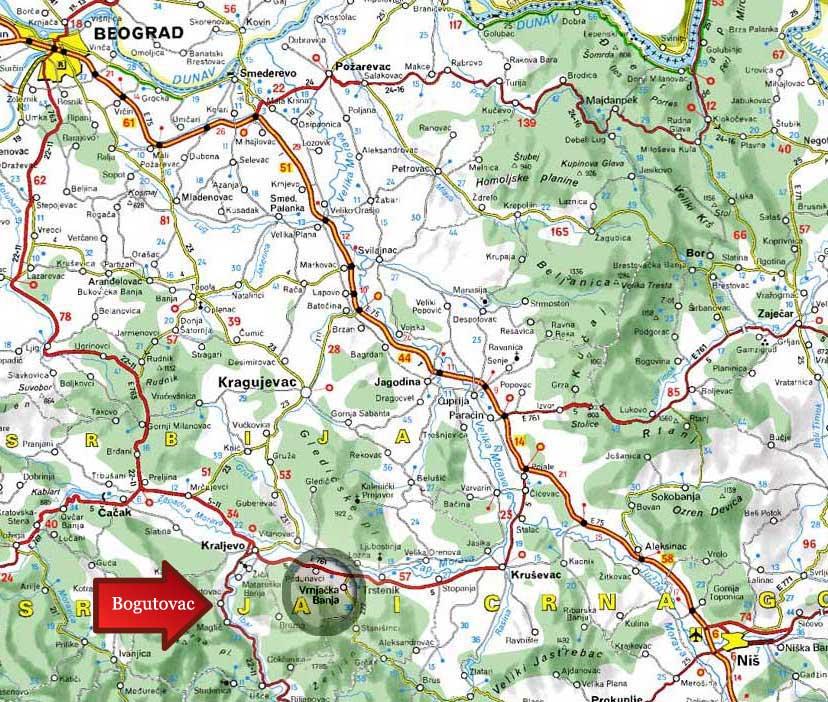 Banja Vrujci Mapa Srbije Superjoden